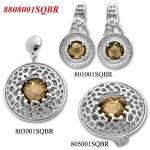 Doriane - Сребърен комплект от три изделия с Опушен кварц - Пръстен, Обеци и Висулка  8808001SQBR-Естествени камъни