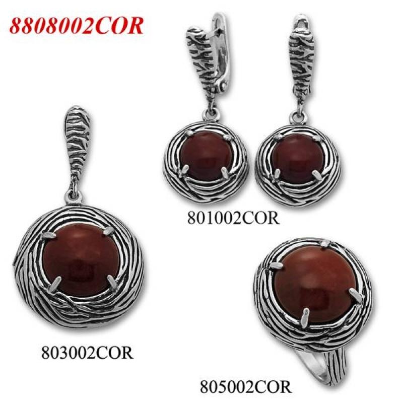 Ramira - Сребърен комплект от три изделия с Корал - Пръстен, Обеци и Висулка 8808002COR-Естествени камъни