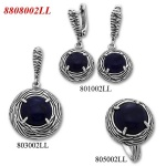 Marcela - Сребърен комплект от три изделия с Лазурит - Пръстен, Обеци и Висулка 8808002LL-Естествени камъни