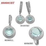 Ambrosia - Сребърен комплект от три изделия с Топаз и Циркони - Пръстен,Обеци и Висулка 8808003BT-Естествени камъни