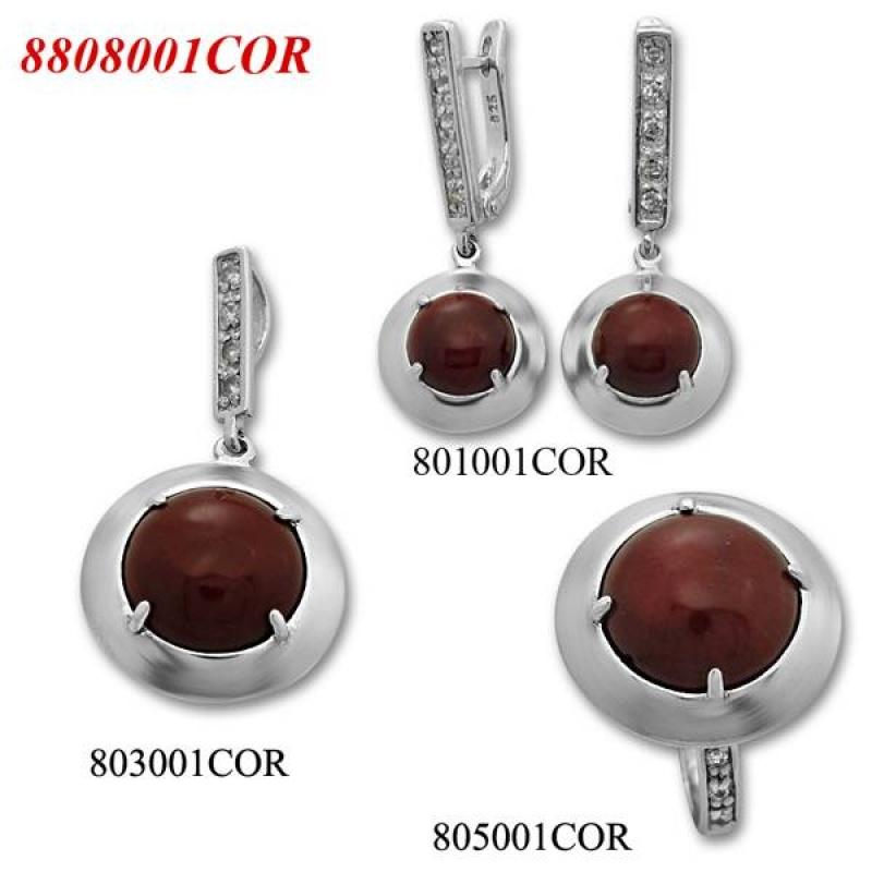 Lucrezia - Сребърен комплект от три изделия с Корал и Циркони - Пръстен, Обеци и Висулка  8808003COR-Естествени камъни