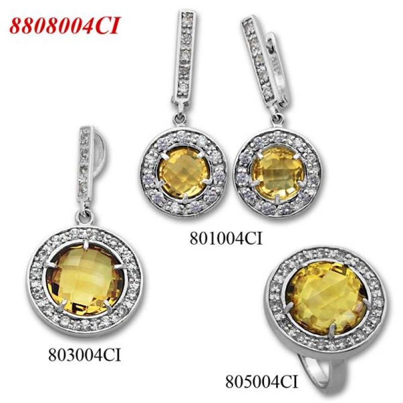 Soledad - Сребърен комплект от три изделия с Цитрин и Циркони  - Пръстен, Обеци и Висулка  8808004CI-Естествени камъни