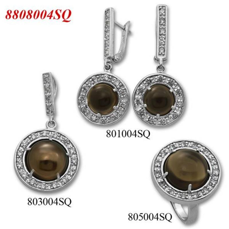 Atlanta - Сребърен комплект от три изделия с Опушен кварц и Циркони - Пръстен, Обеци и Висулка 8808004SQ-Естествени камъни