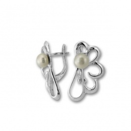 Сребрна обица с перла 115496-Oбици