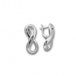 Infinity - Сребърни обеци без камък Безкрайност 133701-