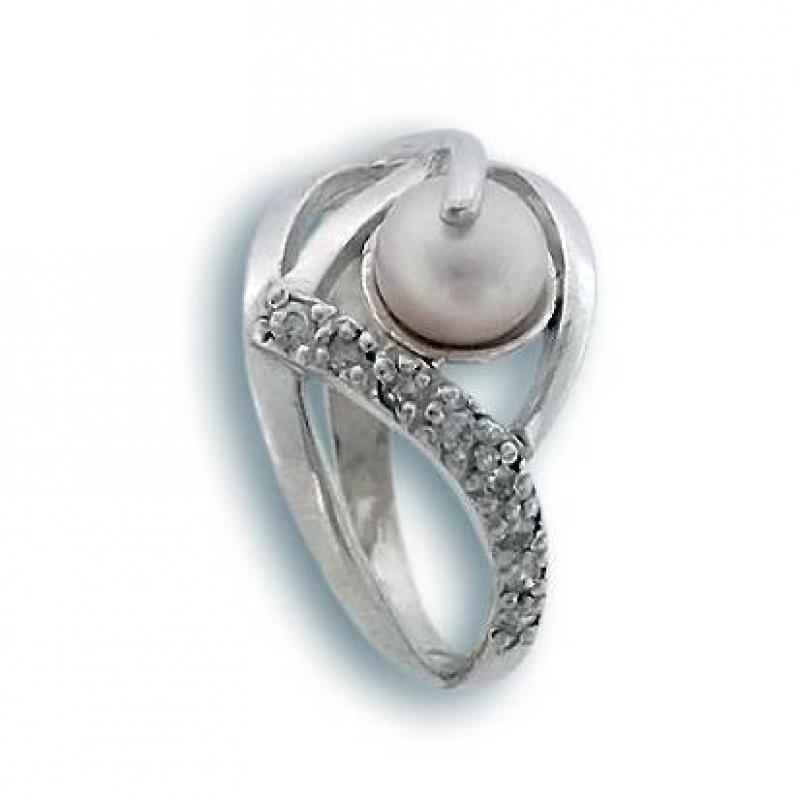 Сребрен пръстен с перла 1705193-Пръстени