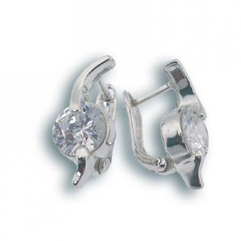 Сребърни обици с Камък 121048-Oбици