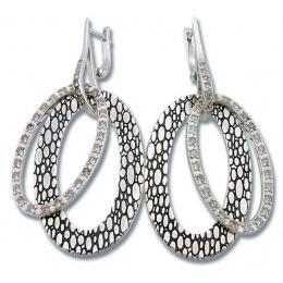 Сребърни обици с Камък 140842-Oбици