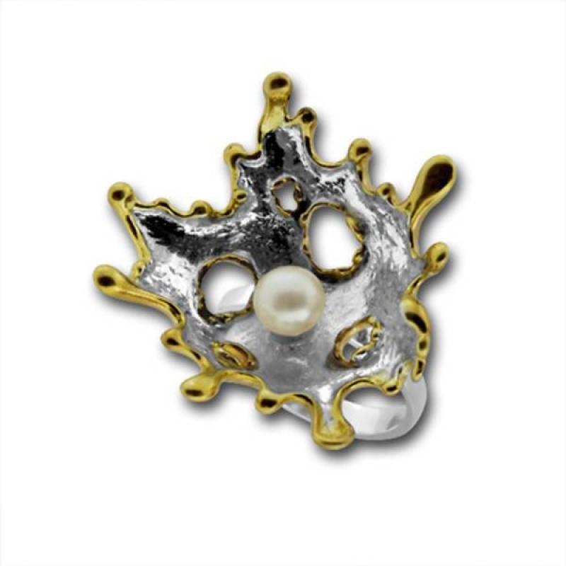 Сребрен пръстен с перла 1705869GO-Пръстени