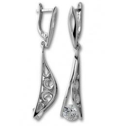 Сребърни обици с Камък 122477-Oбици