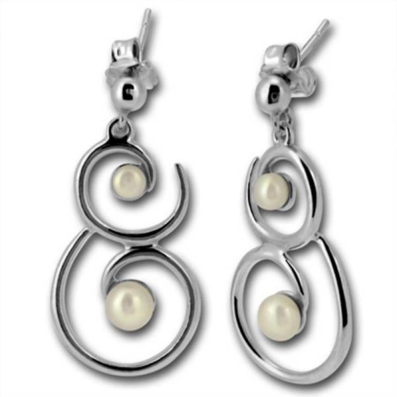 Сребрна обица с перла 115457-Oбици
