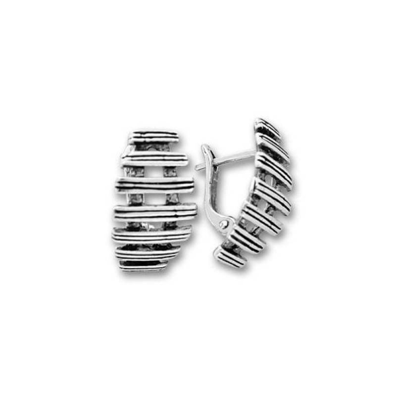 Сребърни обици без камък 132959-Oбици