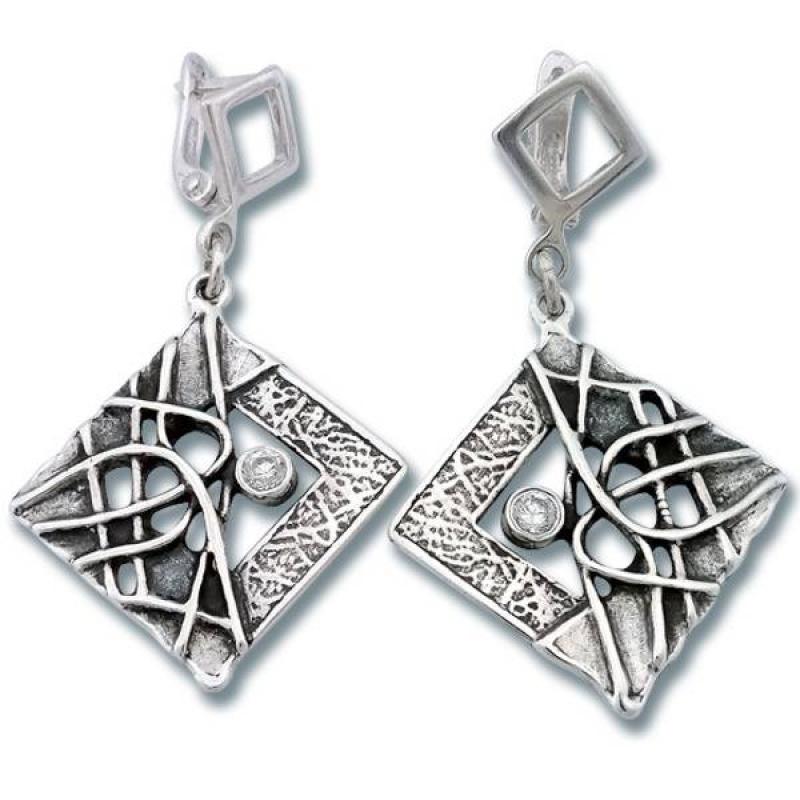 Сребърни обици с Камък 130831-Oбици