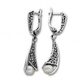 Сребрна обица с перла 115948.1-Oбици