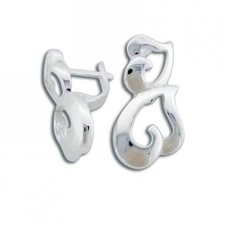 Сребърни обици без камък 132781-Oбици