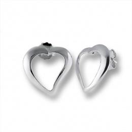 Heart 1 - Сребърни обеци без Камък 111447-Сребърни бижута