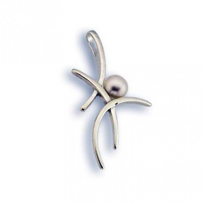 Сребърен медальон с перла 190744-Медальони