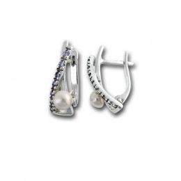 Сребрна обица с перла 115811-Oбици