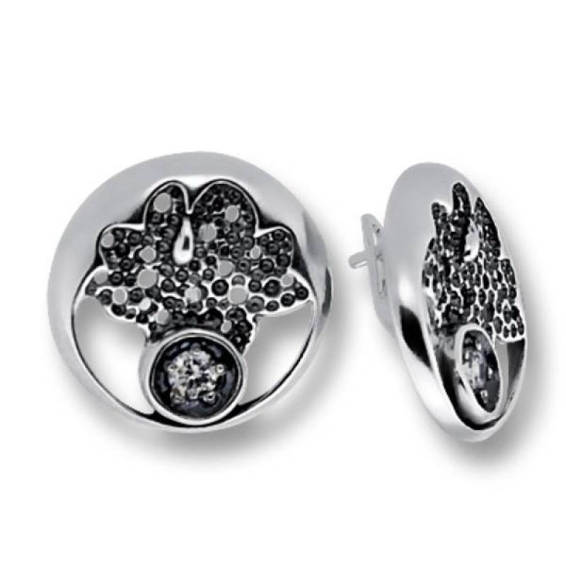 Сребърни обици с Камък 130860-Oбици