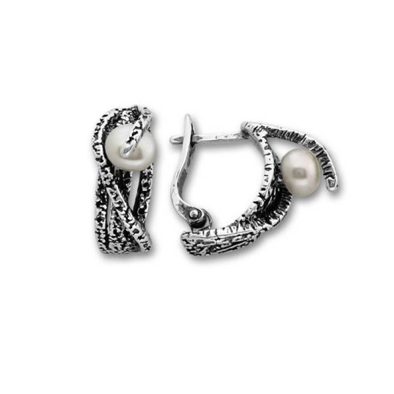 Leonora - Сребърни обеци с перла 115949-Обеци