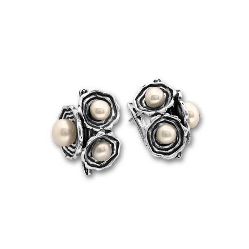 Сребрна обица с перла 115944-Oбици