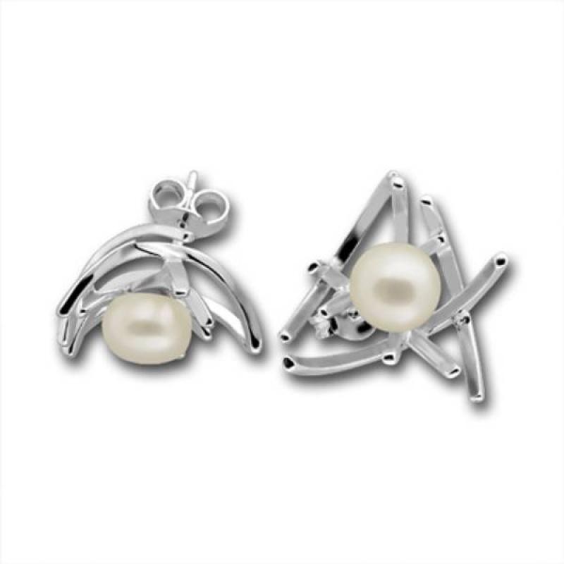 Сребрна обица с перла 115886-Oбици