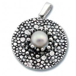 Сребърен медальон с перла 190840-Медальони
