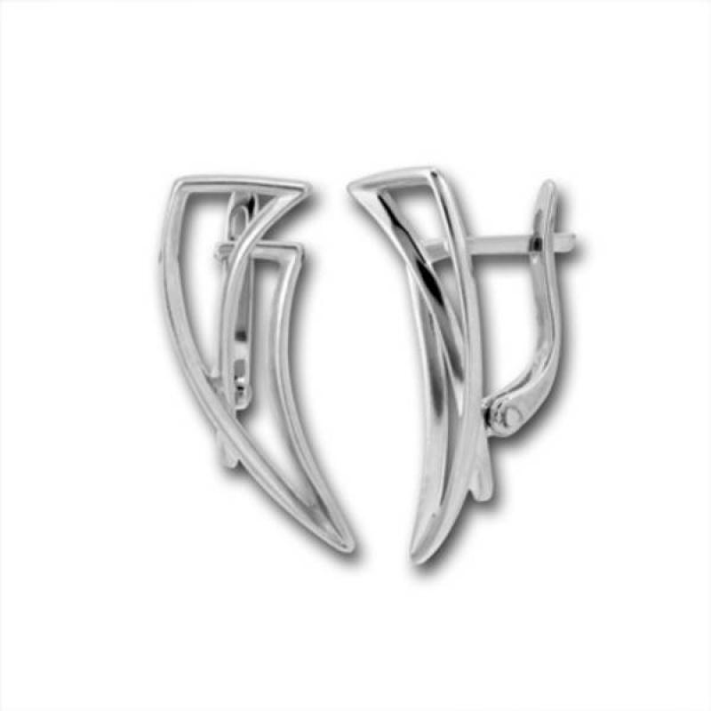 Сребърни обици без камък 133238-Oбици