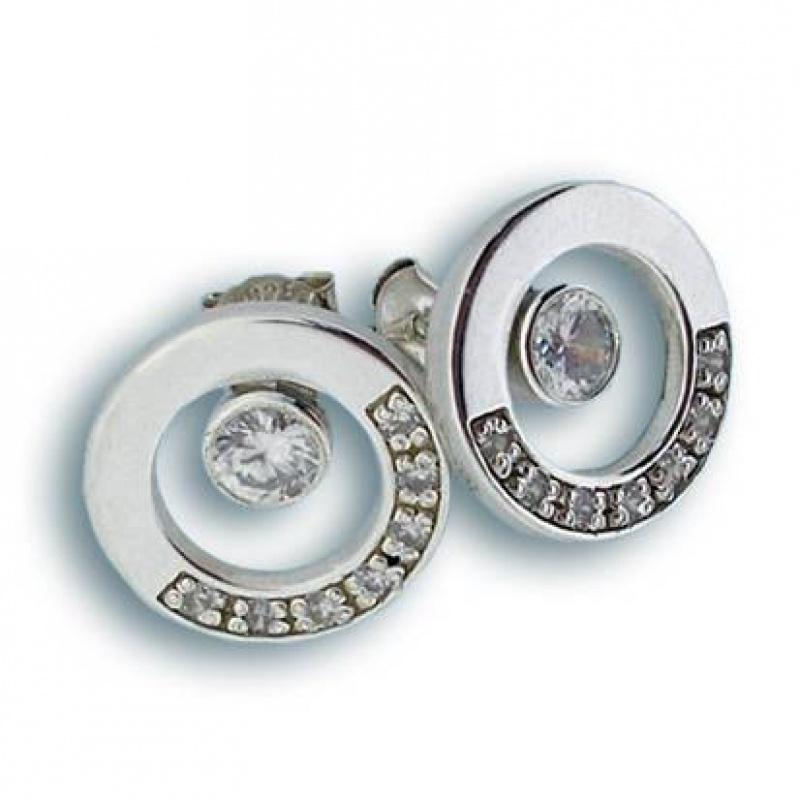 Сребърни обици с Камък 137547-Oбици