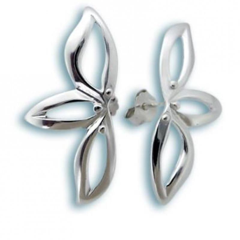 Сребърни обици без камък 132808-Oбици