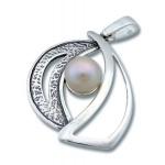 Сребърен медальон с перла 190426-Медальони