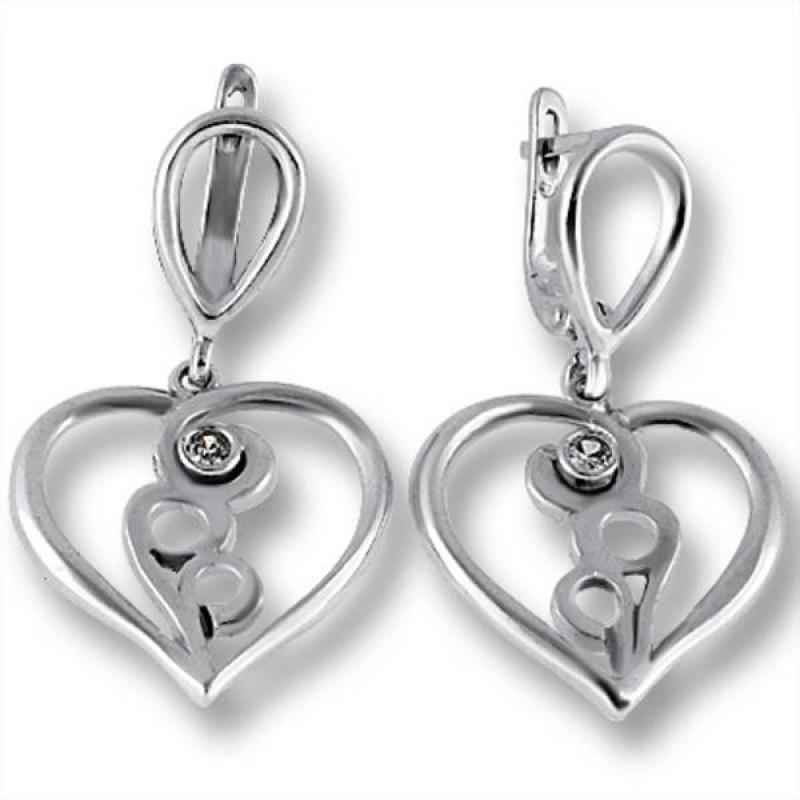 Сребърни обици с Камък 122851-Oбици