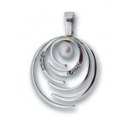 Сребърен медальон с перла 190628-Медальони