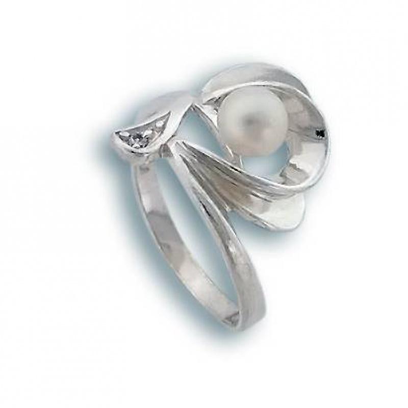 Сребрен пръстен с перла 1705192-Пръстени