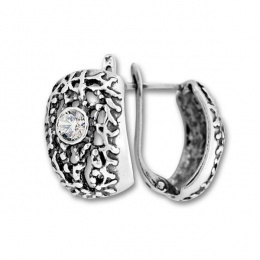 Сребърни обици с Камък 122966-Oбици