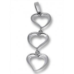 Heart 3 - Сребърна висулка без Камък 181447-Сребърни бижута