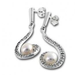 Luisa - Сребърни обеци с перла 115813-Обеци