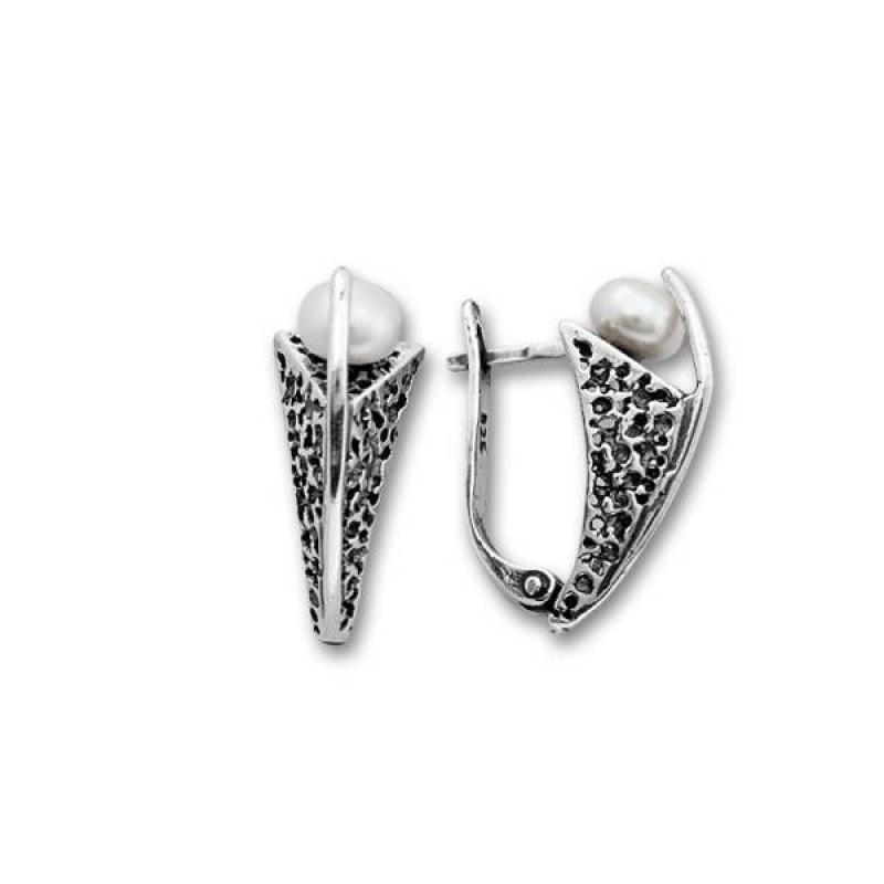 Simona 2 - Сребърни обеци с перли 115948-Обеци