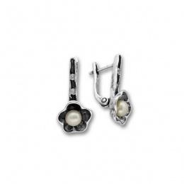 Сребрна обица с перла 115946-Oбици