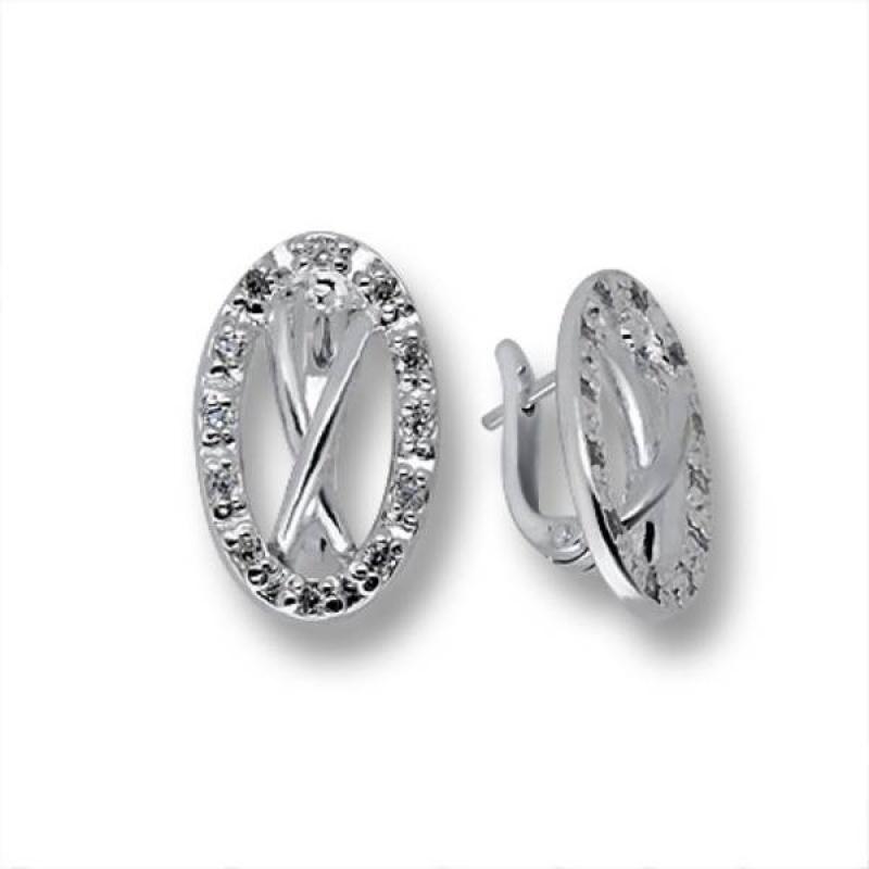 Сребърни обици с Камък 137848-Oбици