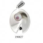 Сребърен медальон с перла 190827-Медальони