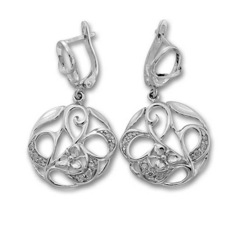 Сребърни обици с Камък 137967-Oбици