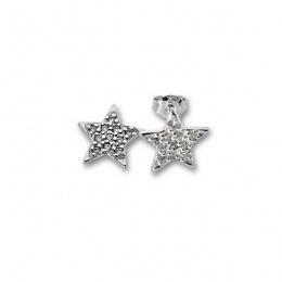Tisha - Сребърни обеци Звезда с Цирконий  139514-Сребърни бижута