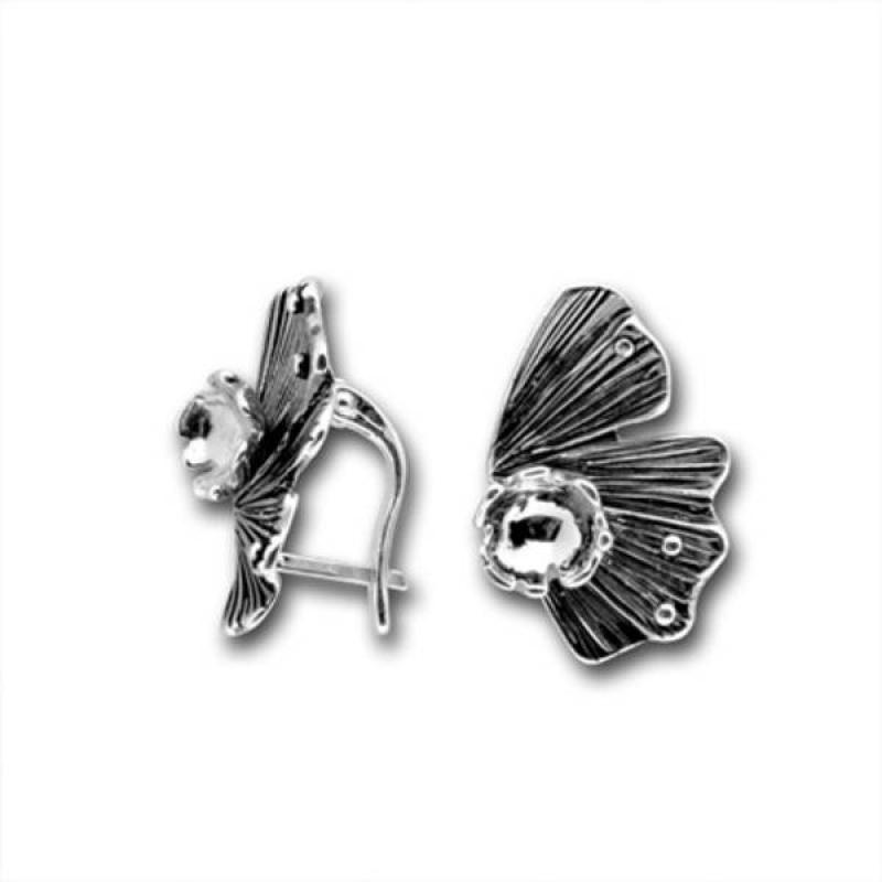 Сребърни обици без камък 136873.1-Oбици