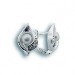 Сребрна обица с перла 115729-Oбици