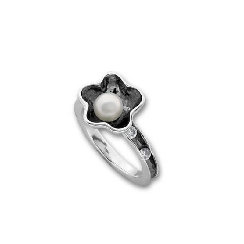 Сребърен пръстен с перла 1705946-Медальони