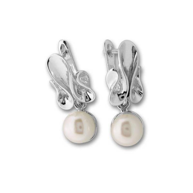 Сребрна обица с перла 115926-Oбици