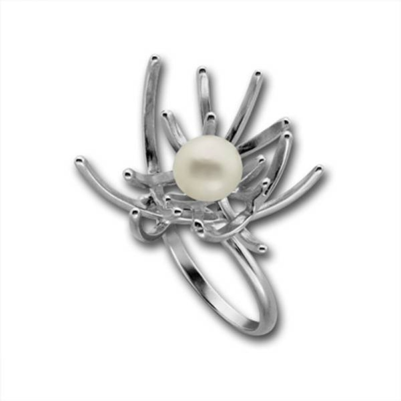 Сребърен пръстен с перла 1705886-Пръстени