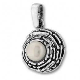 Сребърен медальон с перла 190904-Медальони