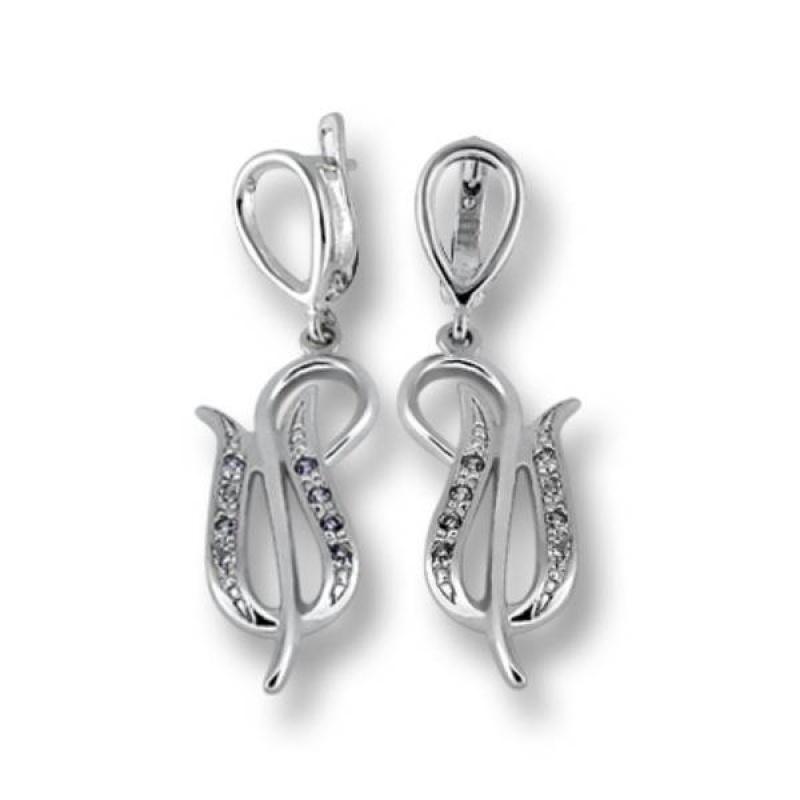 Cecile - Сребърни обеци с Цирконий  137845-Сребърни бижута